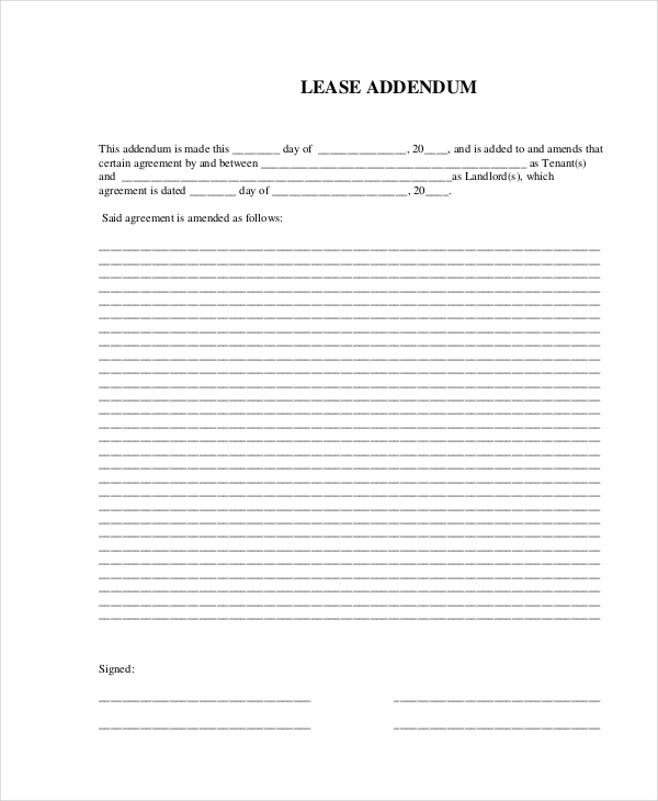 addendum to lease agreement template 27 images of residential