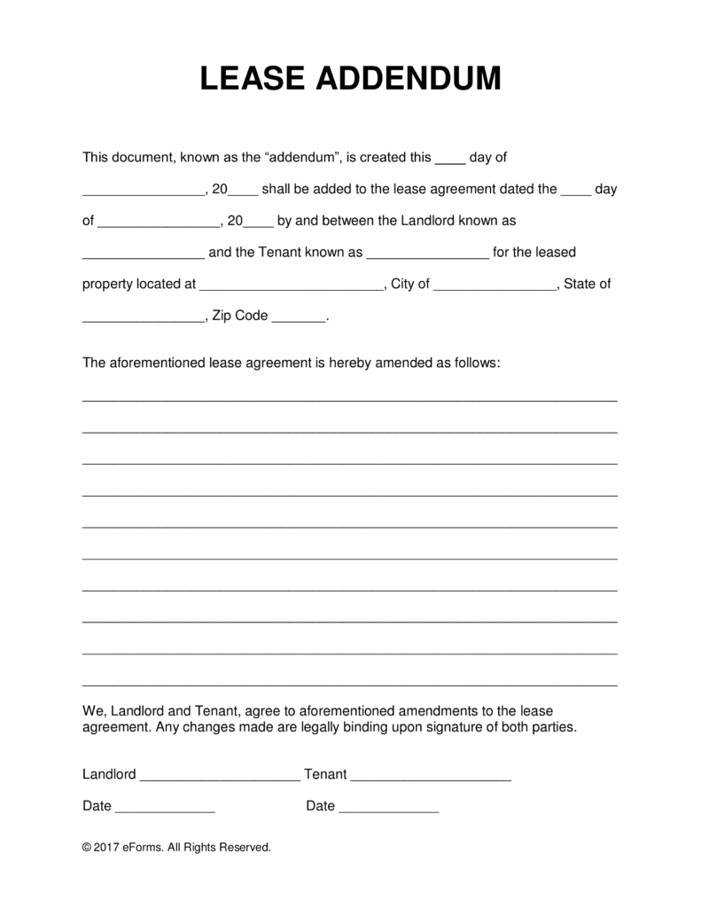 Free Lease Addendum Templates PDF | Word | eForms – Free