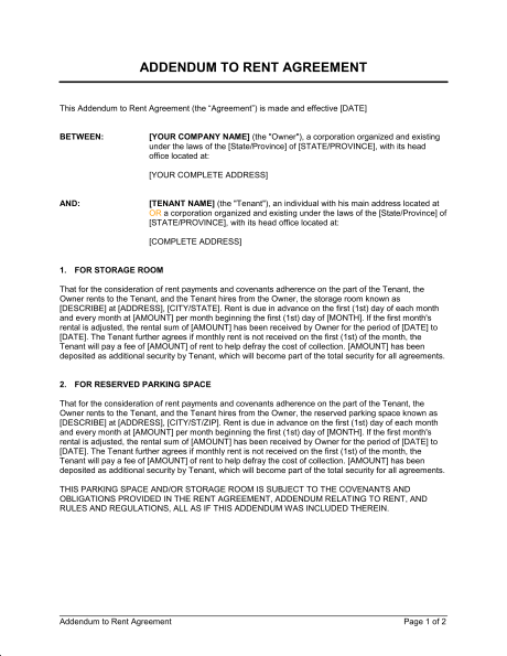 addendum to lease agreement template addendum to lease agreement