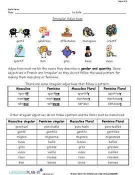 Irregular French Adjective Agreement by Profette | TpT