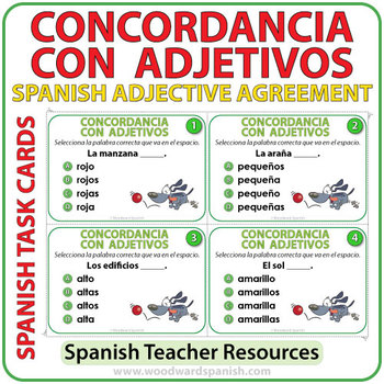 Spanish Adjective Agreement Task Cards by Woodward Education | TpT