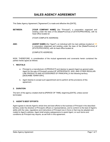 insurance producer agreement template  Agency Agreement Template | gtld world congress