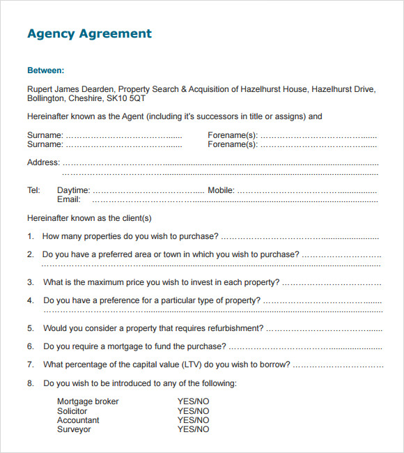 broker agent agreement template sample agency agreement template 9