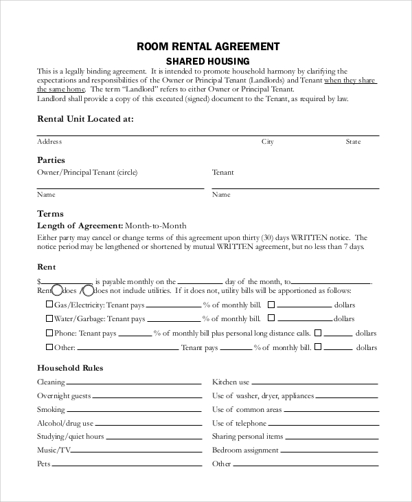 rental agreement contract template sample rental agreement