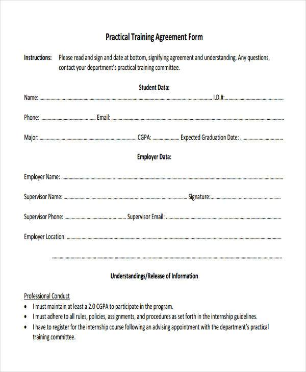 8+ Training Agreement Form Samples Free Sample, Example Format