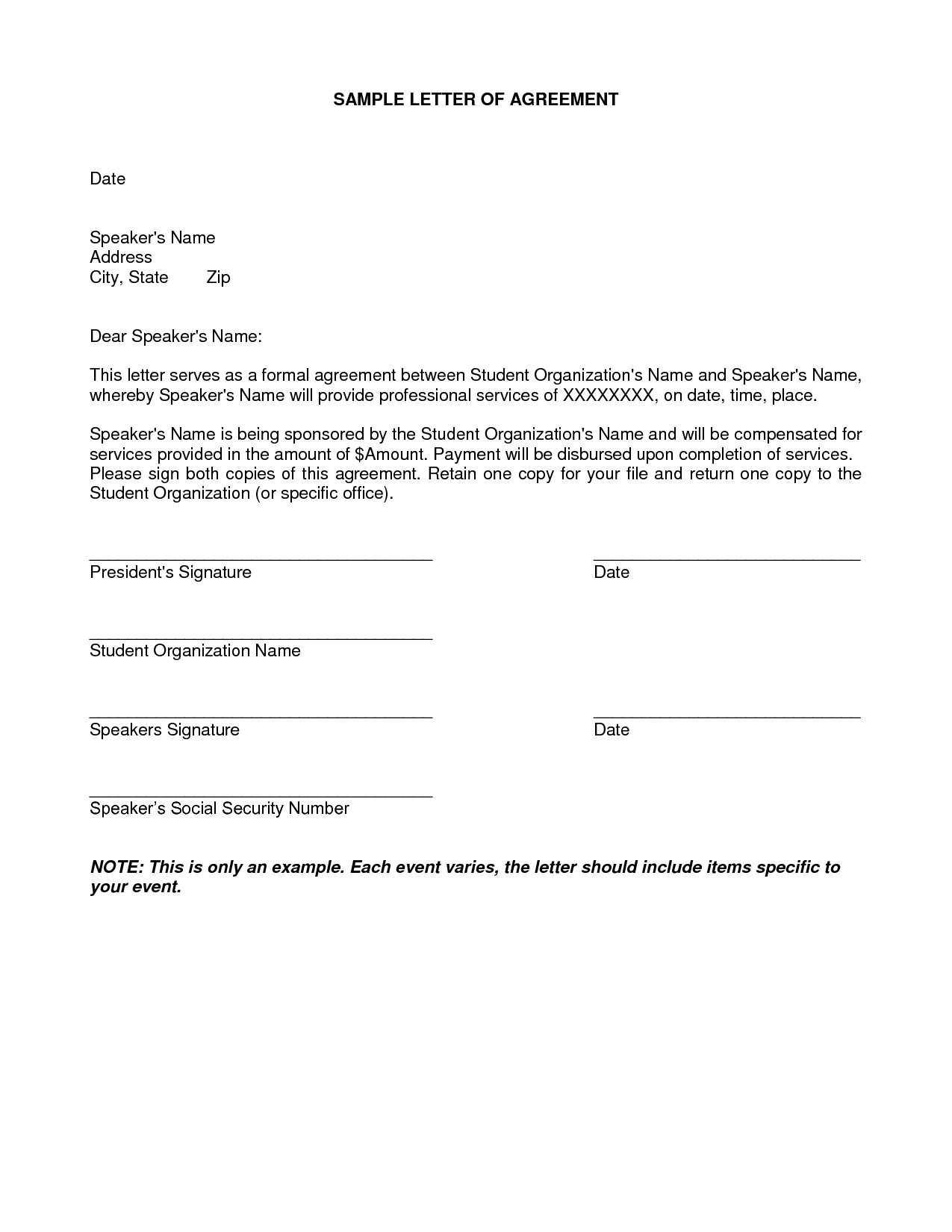 Letter Of Agreement Samples Template seeabruzzo letter of