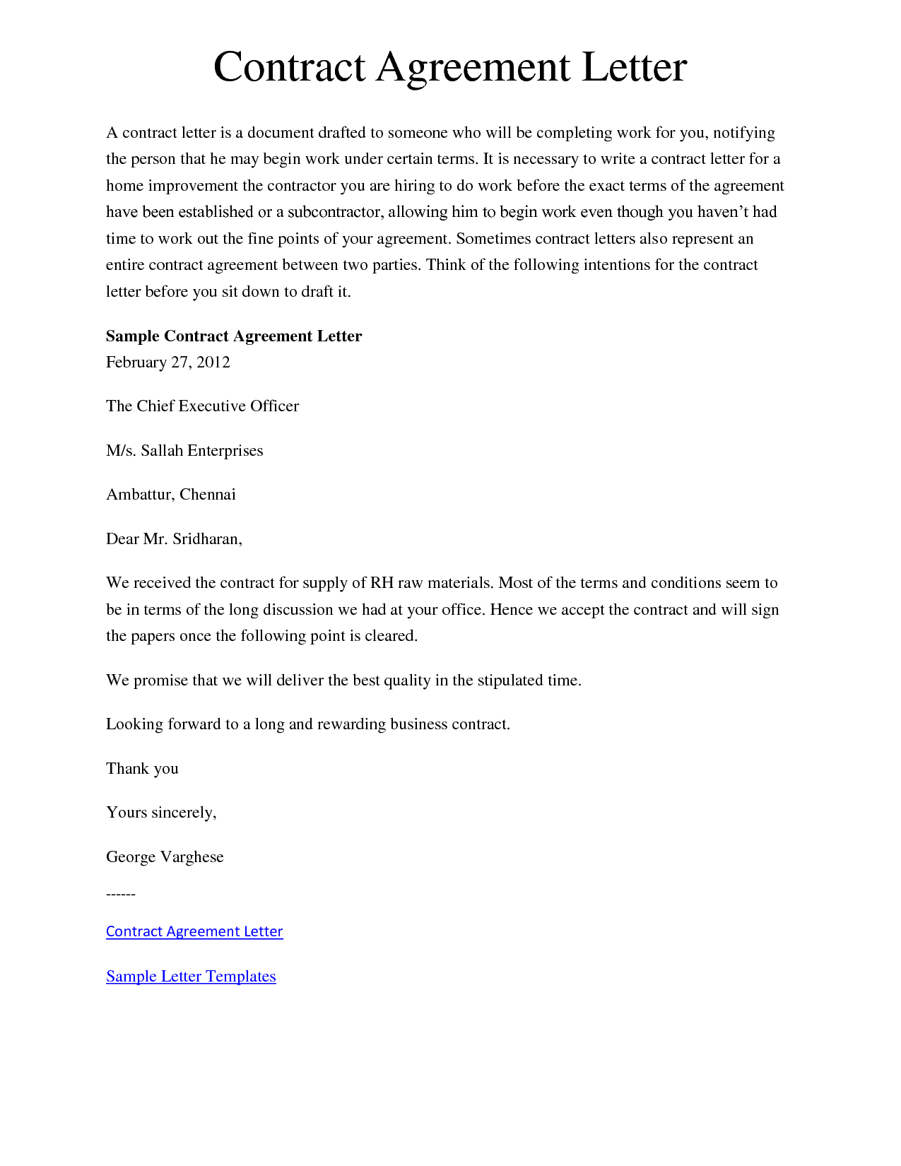 Agreement Letter Template Of Sample Templates Eulbizp Address