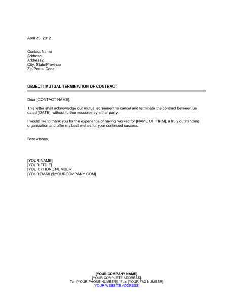 20+ Contract Termination Letter Templates PDF, DOC | Free