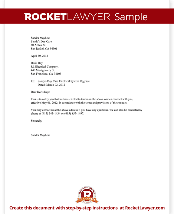 Notice of Termination of Contract Notice Letter (with Sample)