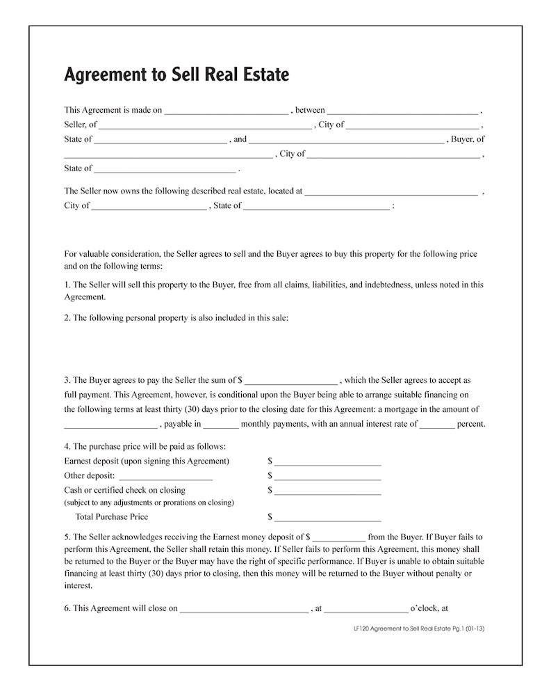 Adams Agreement To Sell Real Estate, Forms and Instructions