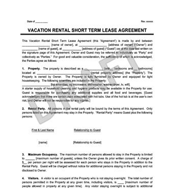 Vacation Rental Short Term Lease Agreement | Create & Download