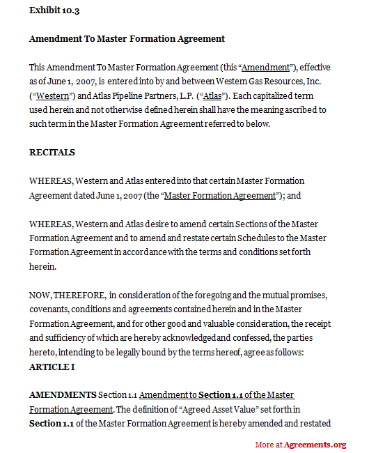 Amendment To Master Formation Agreement Contract Sample saunabelt.co