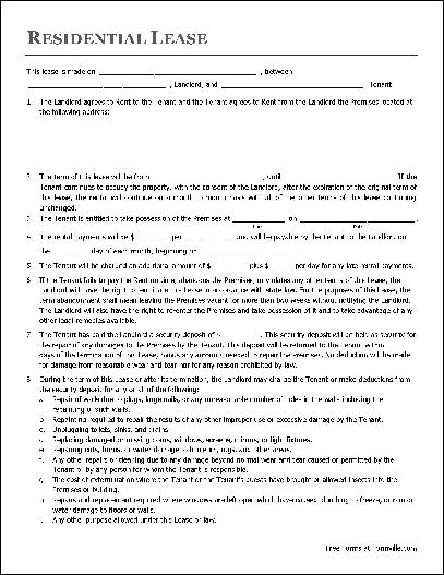 apartment rental agreement template free residential lease