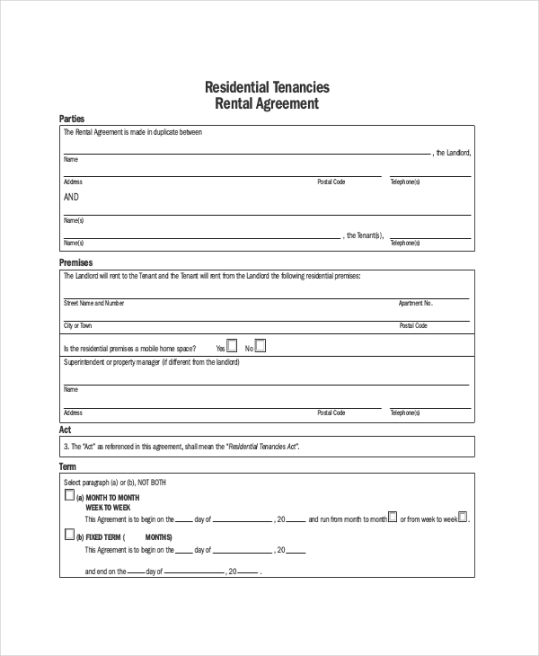 Apartment Rental Agreement – 8+ Free Word, PDF Documents Download