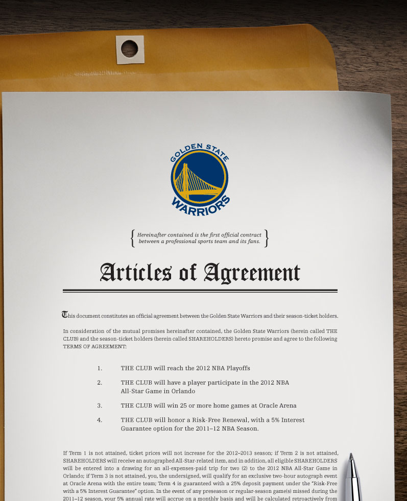 2011 12 Season Tickets: Articles of Agreement | Golden State Warriors