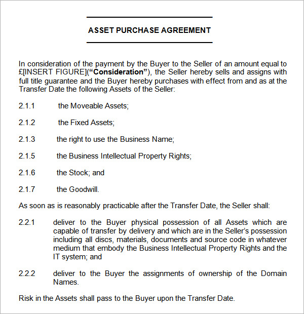 asset purchase agreement templates simple asset purchase agreement