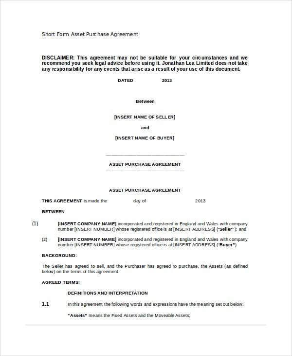 purchase agreement template word asset purchase agreement 7 free