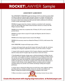 Assignment of Contract Assignment Agreement Form, Sample