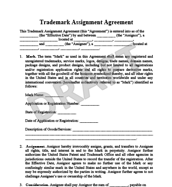 property transfer agreement template create a trademark assignment