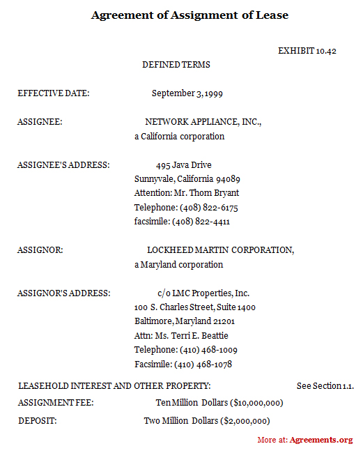 Example Document for Lease Assignment