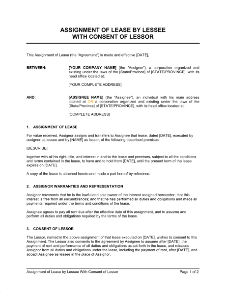 Agreement of Assignment of Lease, Sample Agreement of Assignment
