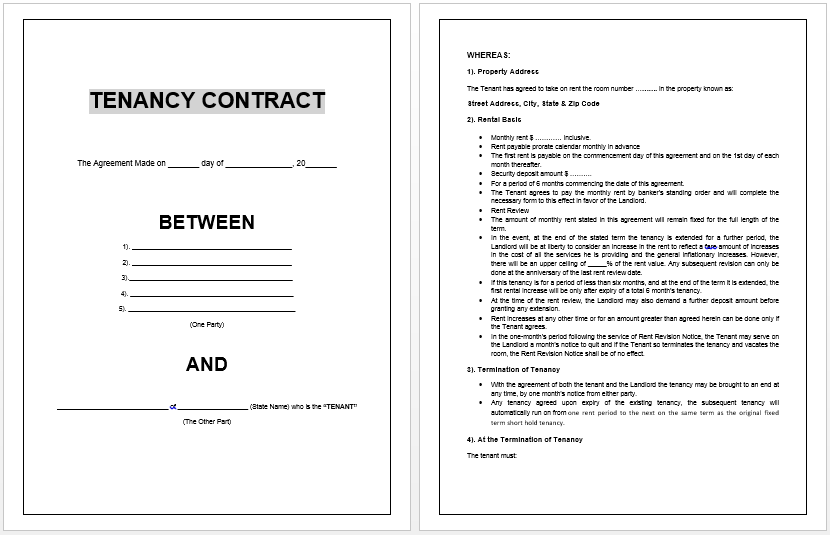 basic lease agreement template tenancy contract template microsoft