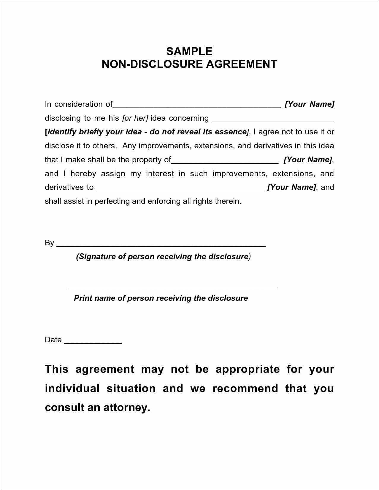 Non Disclosure Agreement Templates Word non disclosure agreement