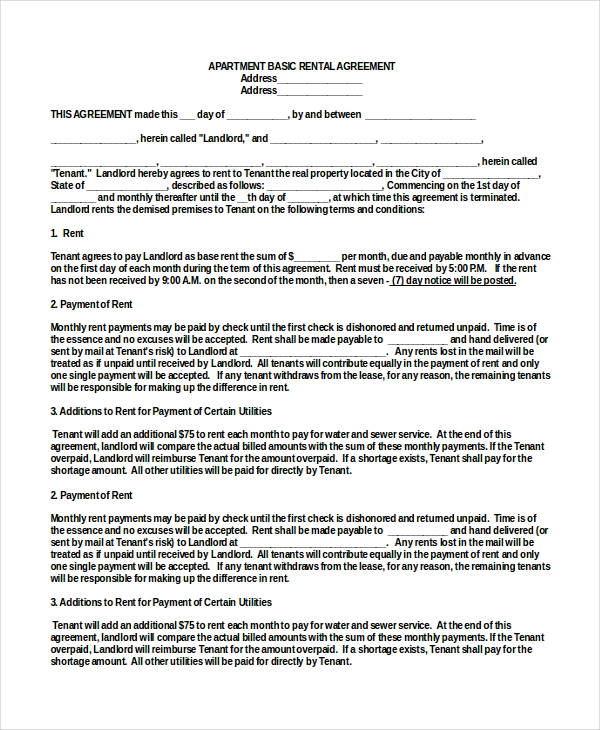 rental agreement template doc basic rental agreement 10 free word