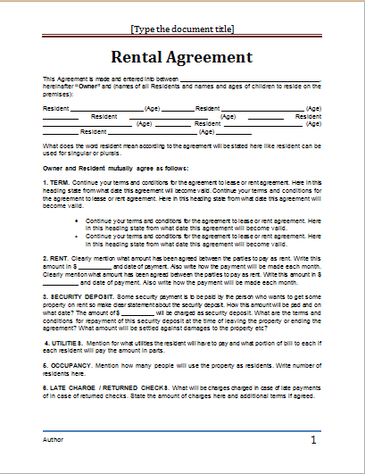 rental agreement template word document lease agreement word