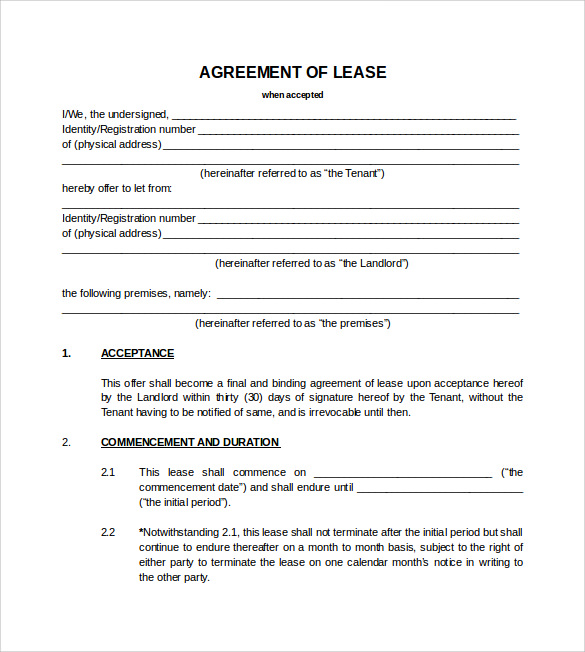 blank lease agreements Teacheng.us
