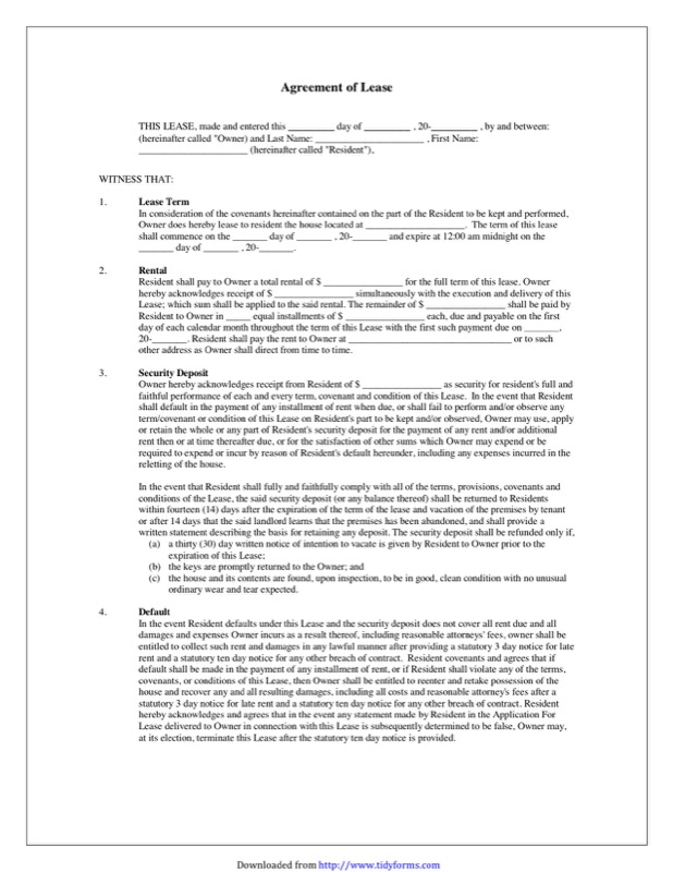 Blank Lease Agreement Templates Free Templates In Doc Ppt Pdf