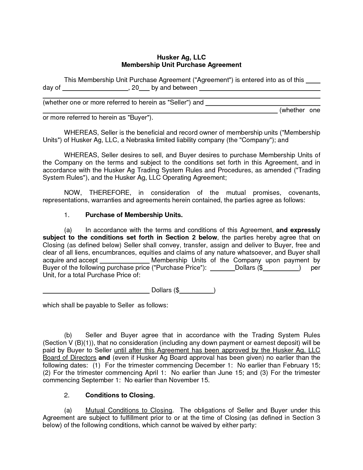Sales Agreement Template Fresh Free Blank Purchase Agreement form