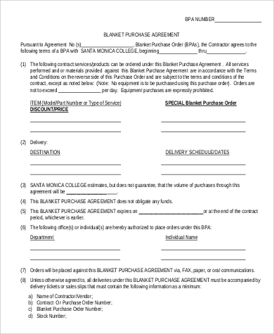 blanket purchase order agreement template sample blanket purchase