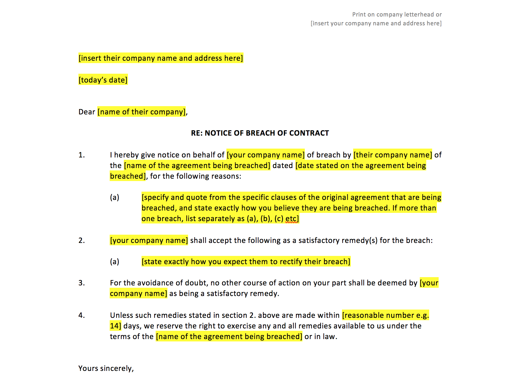 Breach Of Contract Letter Template 10 – el parga