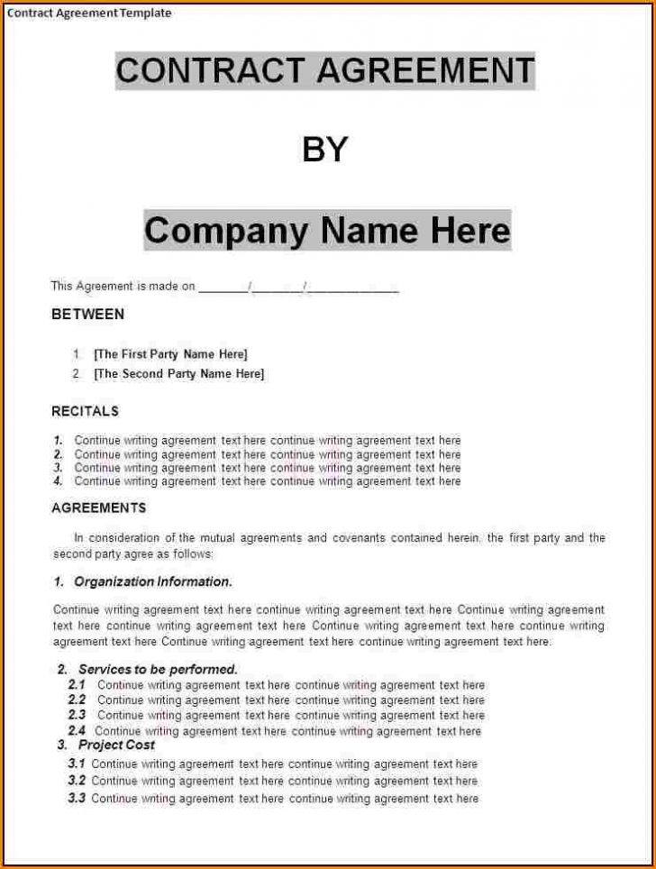 business agreement contract template mutual agreement contract