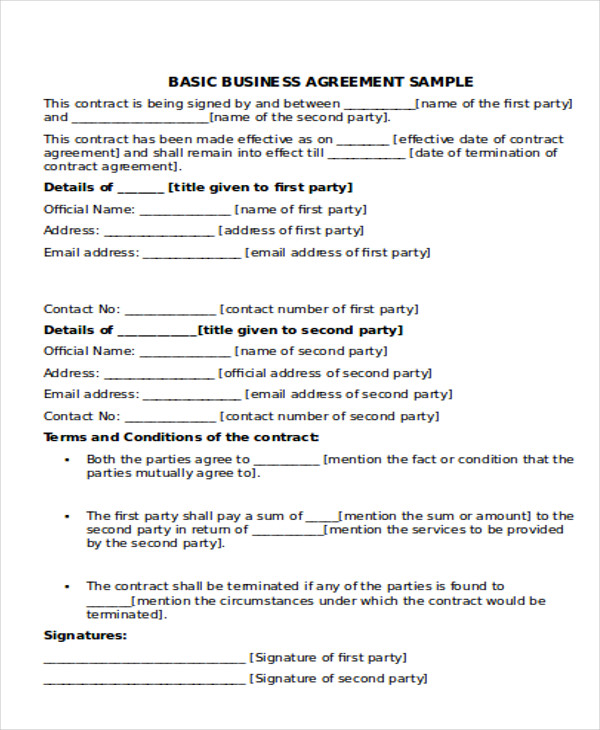 Sample Of Business Agreement | Gratulfata