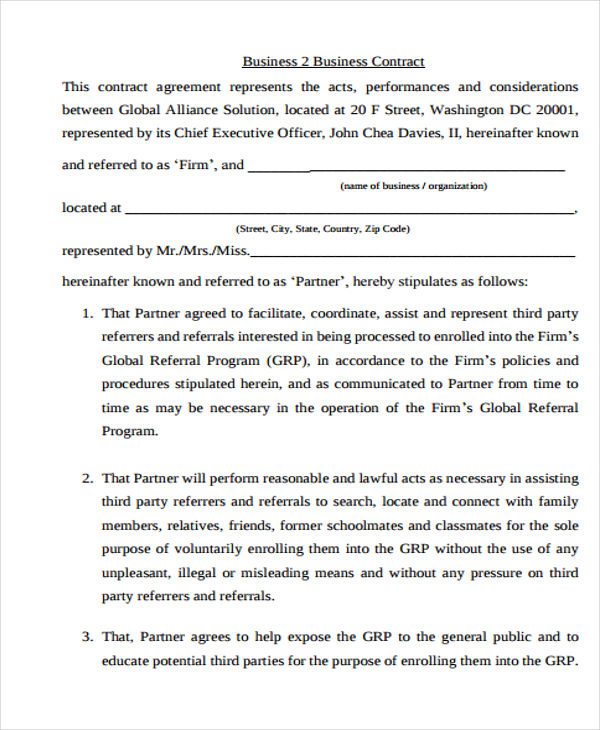 Business Agreement Templates 10 Free Word, PDF Format Download