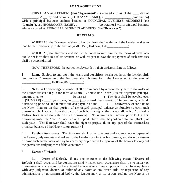 business to business loan agreement template business loan