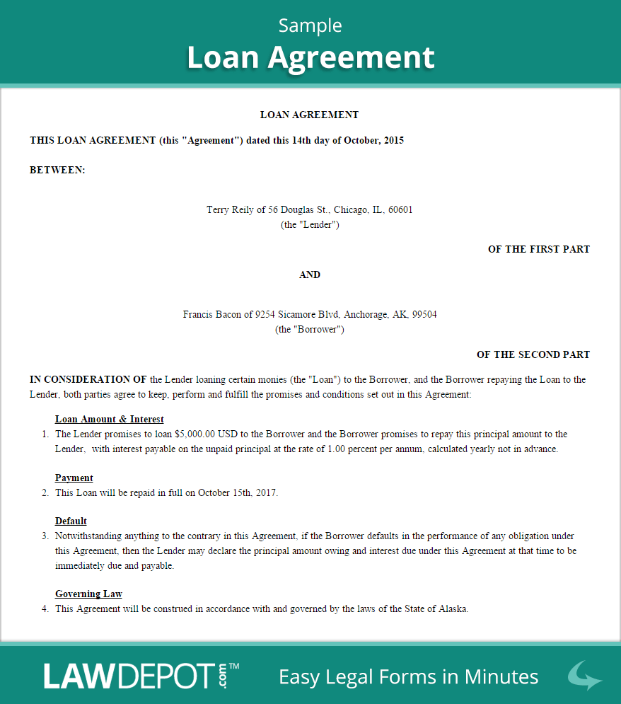 Loan Agreement Template (US) | Free Loan Contract | LawDepot