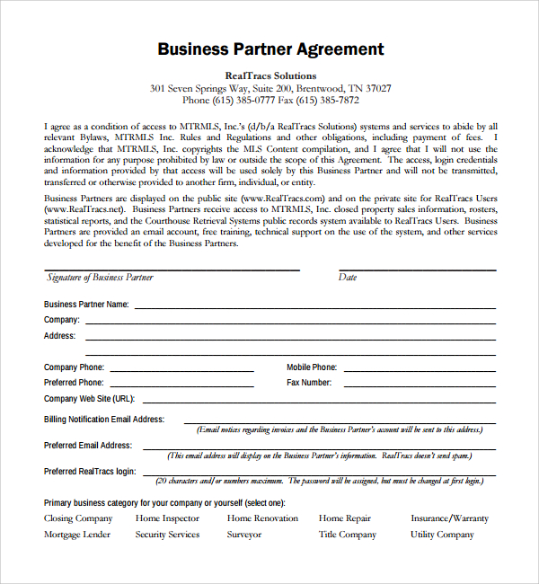 business partner agreement .rule of law.us