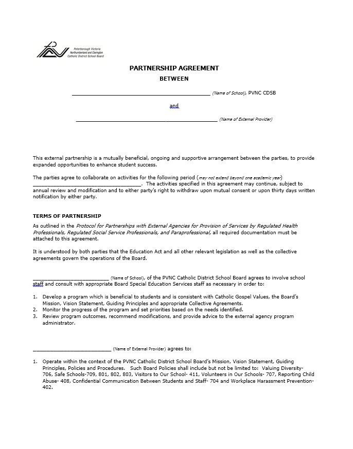 educational partnership agreement template template for business
