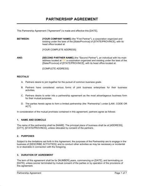 business partner agreement template partnership agreement ontario