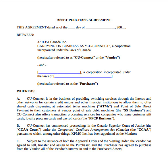 asset purchase agreement template ontario asset purchase agreement
