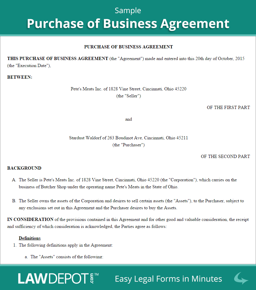 Purchase of Business Agreement Template (US) | LawDepot