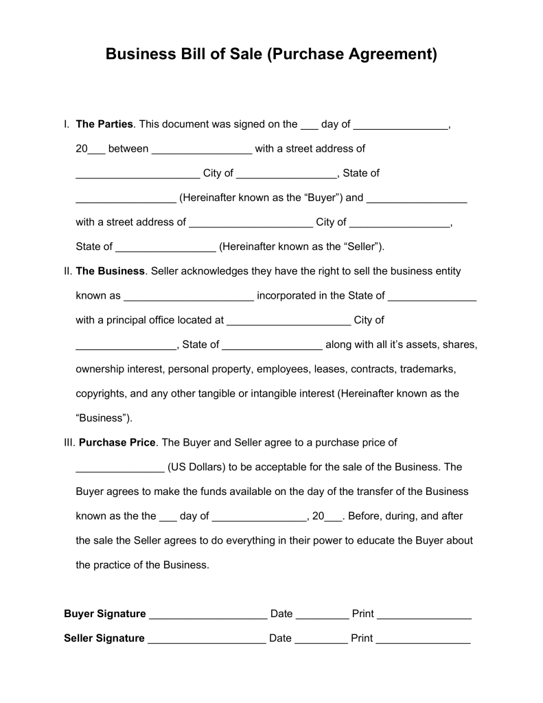 Free Business Bill of Sale Form (Purchase Agreement) Word | PDF
