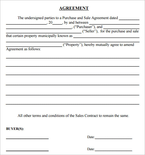 amendment to purchase and sale agreement template sales and