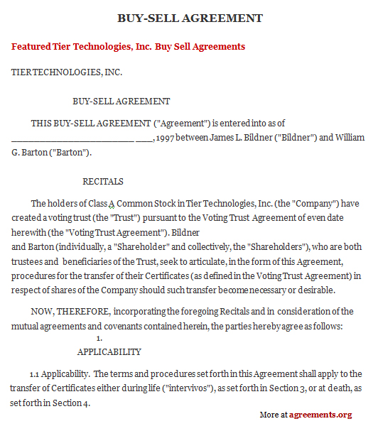 business buy sell agreement template business buyout agreement