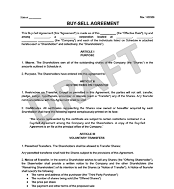 Buy Sell Agreement Template | Create a Free Buy Sell Agreement