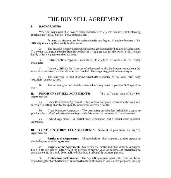 buy sell agreement template free business buyout agreement