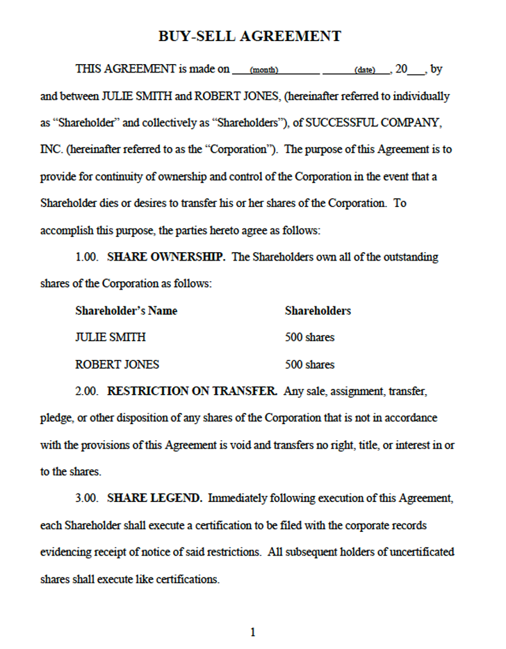 shareholder buyout agreement template download sample buy sell